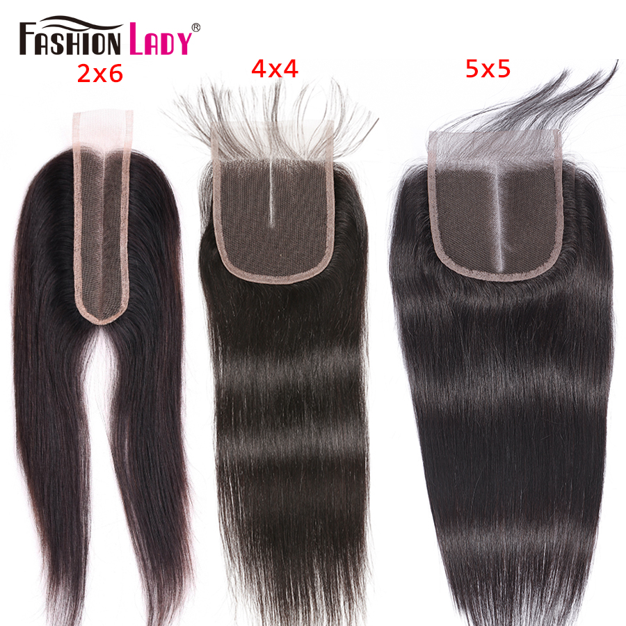 Fashion Lady Human Hair Brazilian Straight Weave Middle Part Closure 2x6 4x4 5x5 6x6 Lace Closure Bleached Knots Non-remy