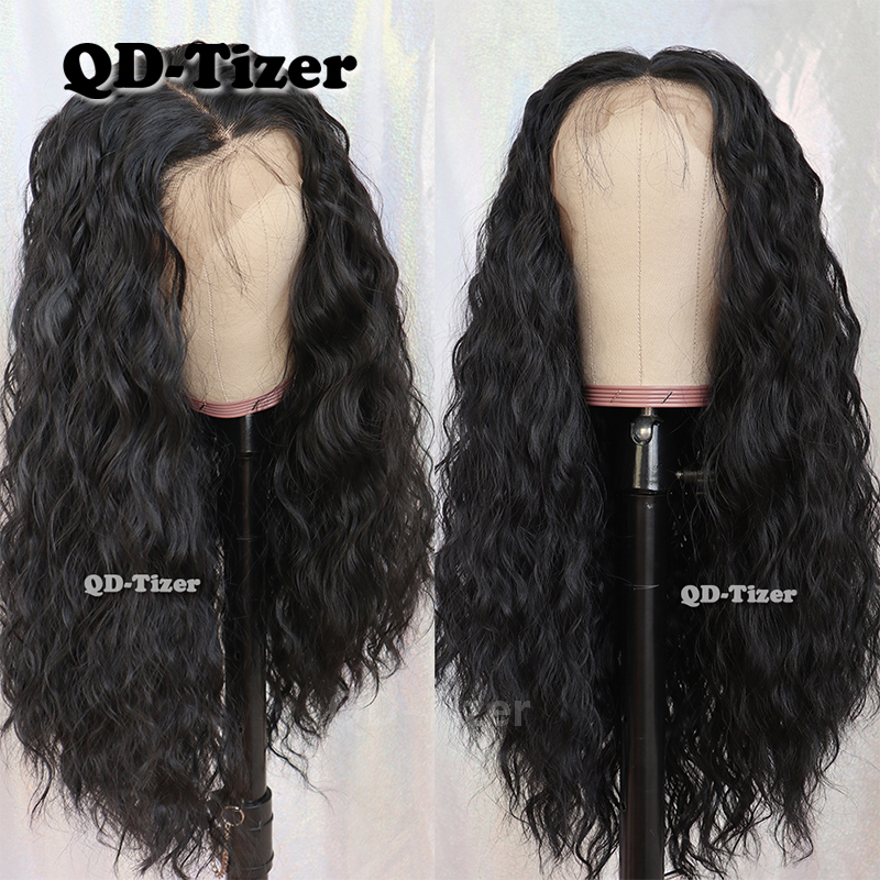 QD-Tizer 13*6 Lace Front Wigs Long Loose Curly Hair Black Color Synthetic Lace Front Wigs For Women With Baby Hair