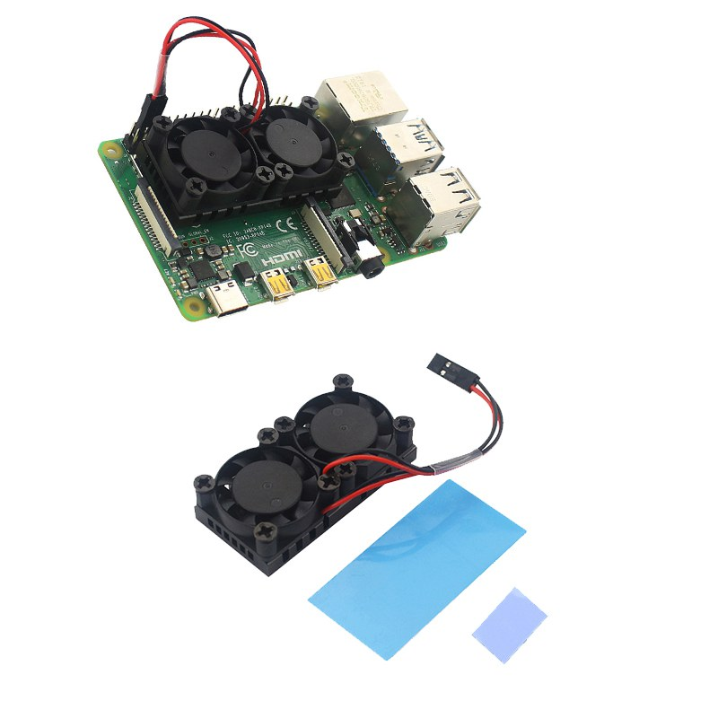 Dual Fan Square Cooling Fan With Heatsink Cooler Kit For Raspberry  Kit For Raspberry Pi 4 Parts