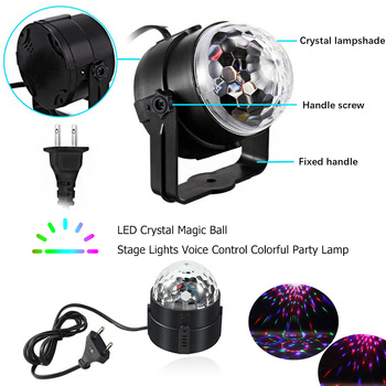 Remote Control LED Magic Ball Sound Mini Crystal RGB Colorful Light Disco Stage KTV Bar
