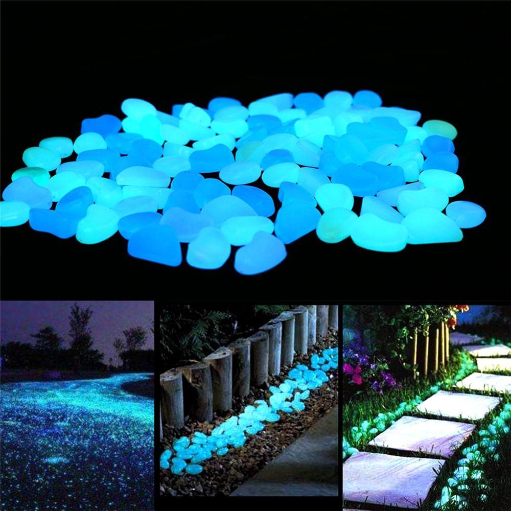 50/100/300/500 sztuk ogród świecące w ciemności Luminous Pebble dla chodników akwarium roślinne Decor Glow Stones Garden Patio dekoracje