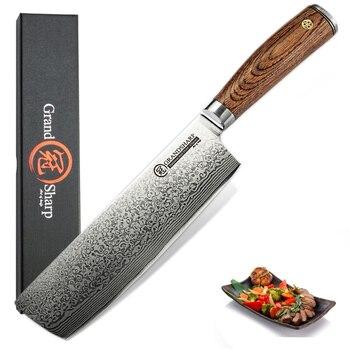 Grandsharp 6.7 Inch Damascus Kitchen Knives Japanese Nakiri Knife vg10 Japan Damascus Steel Vegetables Tool Stainless Steel Chef