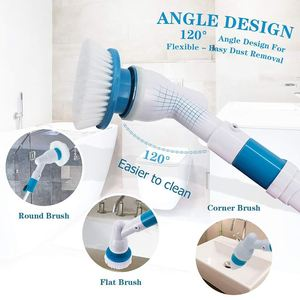 Electric Cleaning Brush Spin Scrubber Turbo Scrub Cordless Chargeable Bathroom Cleaner Extension Handle Tub window tools