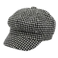 Восьмиугольные шляпы очаровательные для женщин и мужчин зимние теплые Newsboy кепки мужчин s плюща шляпа Гольф вождения плоский твид берет таксиста черно-белая сетка