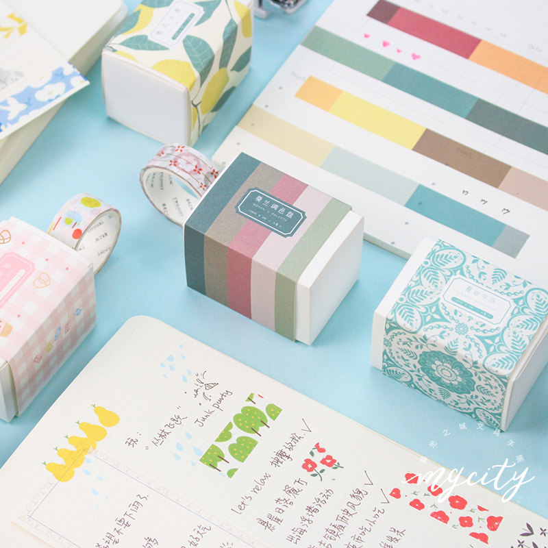 JAINWU 4pcs/set Cute Washi Tape Strawberry Floral Fruit Sticker Decoration Bullet Journal Sticker Kawaii Masking Tape