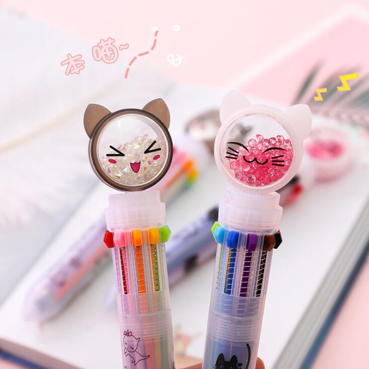 1PC Kawaii Multi-color 10 Colors Lovely Cat Ballpoint Pen Graffiti Pen For Kids Monocerus Painting Ball Pen School Stationery