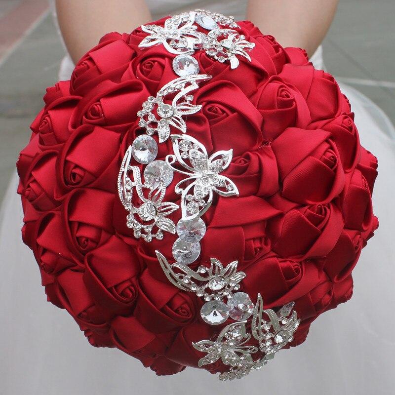 Image 2 - Wifelai um 1pc vinho vermelho seda rosa borboleta diamantes  broche casamento bouquet nupcial mariage flor ponto bouquet de casamento  w2216wedding bouquet bridalwedding bouquetbouquet bridal -