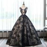 Puffy Ball Gown Sweet 16 Dress Black Quinceanera DressesReal Picture Appliqued Lace Long Pageant Birthday vestidos para 15 anos