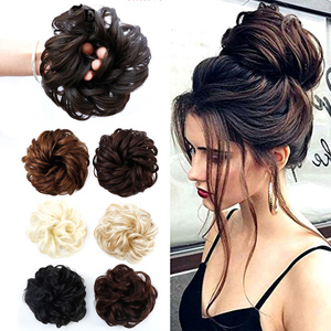 AOSIWIG Synthetic Chignon With Rubber Band Brown Blonde Women Curly Chignon Hair Clip In Hairpiece Bun Drawstring(China)