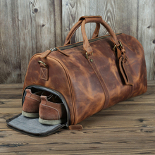 Genuine Leather Men Travel Bags Shoe Pocket Hand Luggage