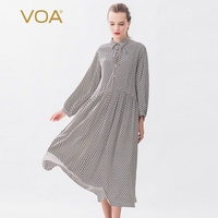 Voa Black and white Mesh Double Crepe Belt Ruffle Design Loose waisted Summer Vestido Clothes natural Silk Dress women A10778