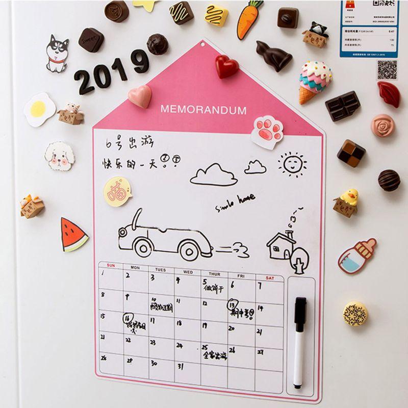 A3 Soft Magnetic Whiteboard Magnet Erase Board Drawing Refrigerator Calendar Pen R9UA