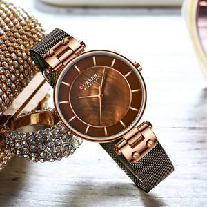 Image 5 - CURREN montre à Quartz Simple et créative en maille dacier pour femmes, nouvelle horloge, Bracelet pour dames