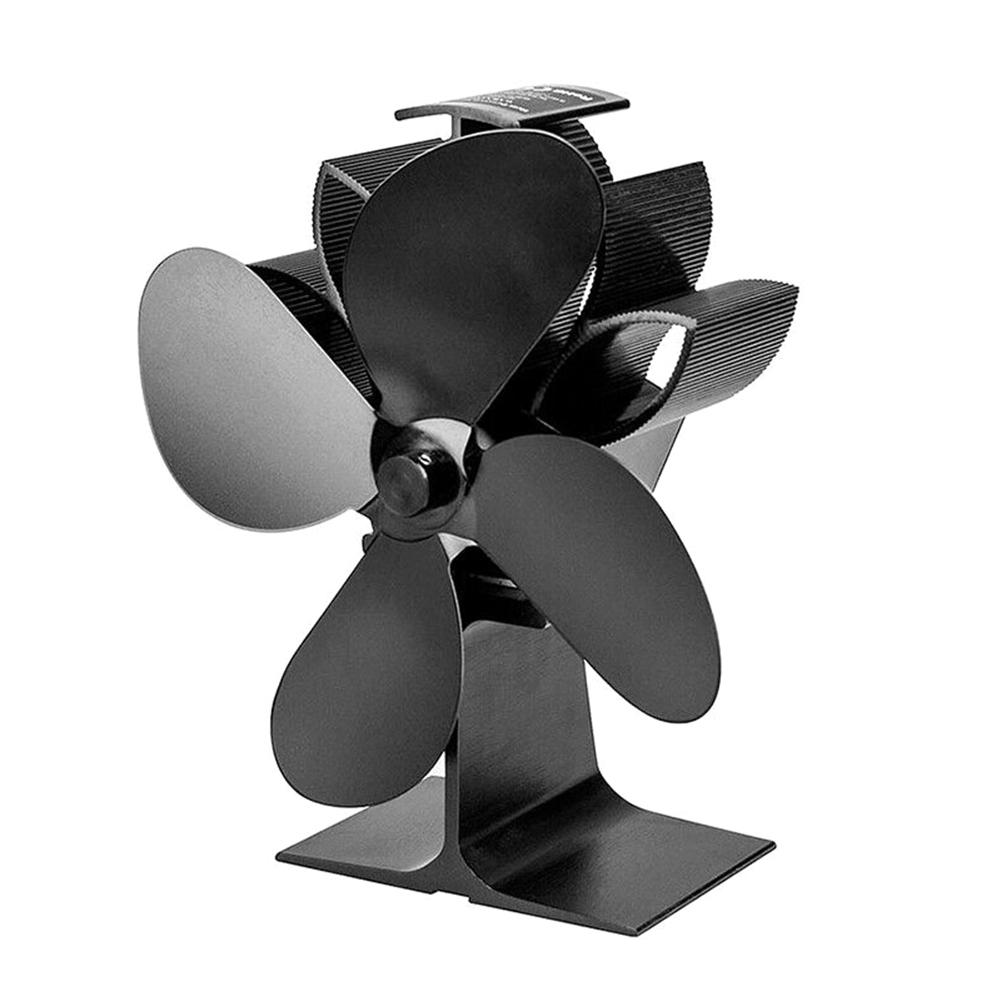 Heat Powered Stove Fan 4 Blades Fireplace Silent Portable For Wood Log Fire Burning TB Sale