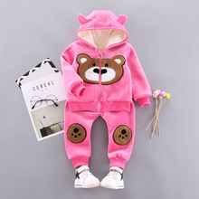 2019 new winter clothes sets for height 90-110cm coat and pants 2 pcs 1014
