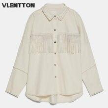 Женская блузка с заклепками и кисточками однотонная Повседневная
