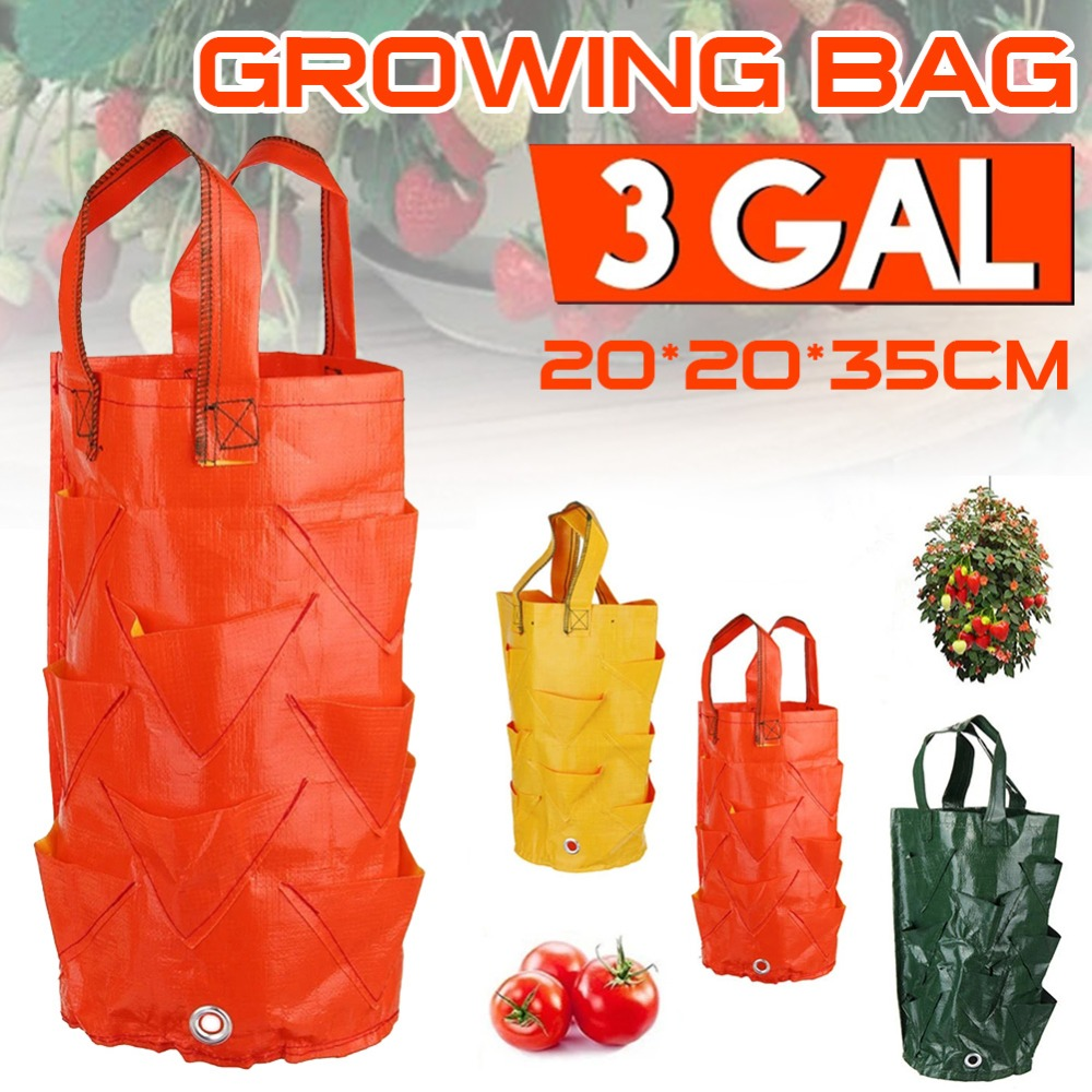 3 Gallon PE Planting Strawberry Grow Bag Water-resistant Nursing Pots With Handles Vegetable Grow Bag Indoor Garden Supplies