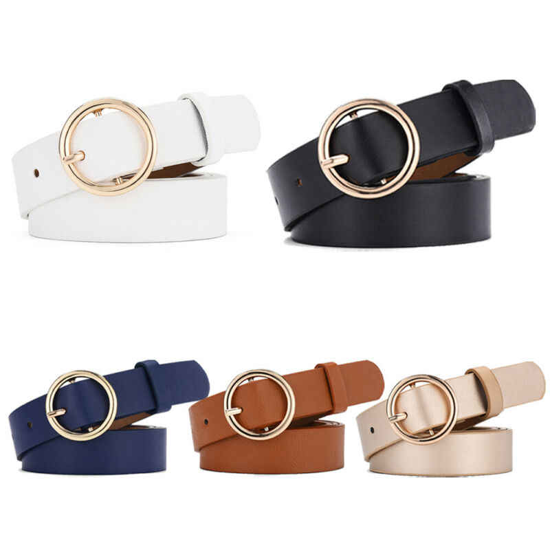 Ring Women Belt Classic Fashion Solid PU Leather Waistband Metal Buckle Wide Belt Strap Belts For Ladies Leisure Dress Jeans