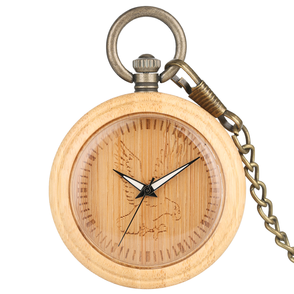 Vintage Bamboo Large Pocket Watch For Men Retro Eagle Pattern Dial Bronze Chain With Wooden Pendant Watch Women Gift Zak Horloge