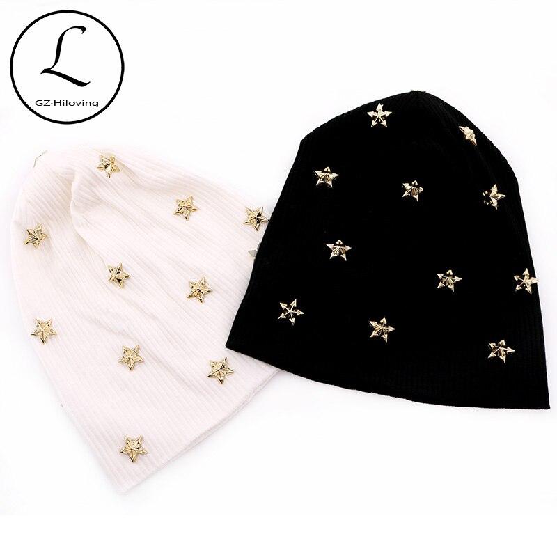 Повседневная Женская ребристая хлопковая шапка со звездами, осенне-зимняя вязаная шапка-бини для дам, черная оверизз, мешковатые шапки на з...