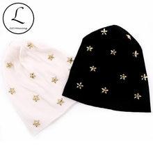 Mulheres casuais Estrela de Algodão Com Nervuras Knit Slouch Beanie hat Outono Inverno hat para senhoras Preto Overisze Baggy Chapéus Personalizados Coisas