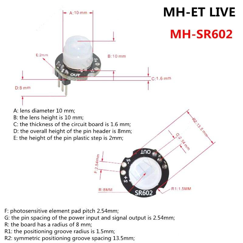 MINI SR602 Motion Sensor Detector Module Pyroelectric Infrared Sensory Switch With High Sensitivity KQS8