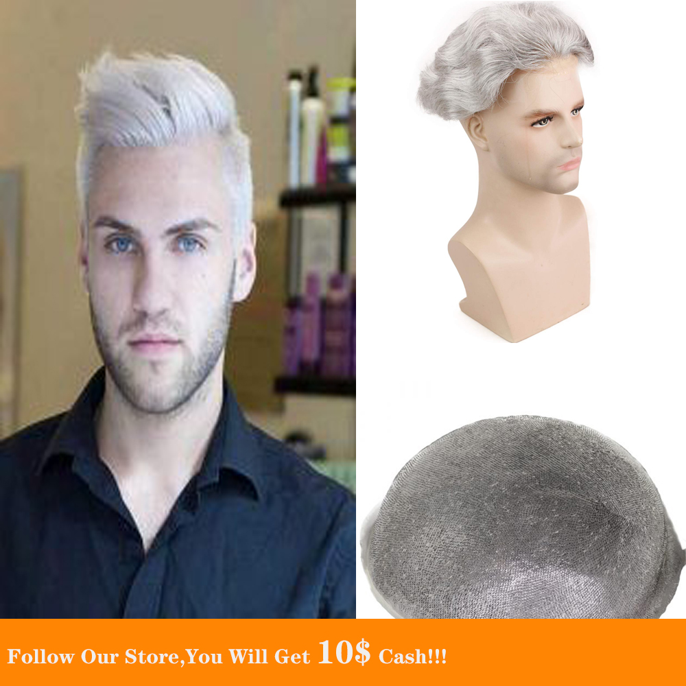 BYMC 6x8 Human Hair Men Hairpiece Toupee Thin Skin Brazilian Remy Hair Pure Grey Color Full PU Replacement For Homme Wig