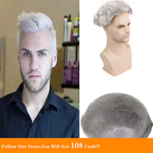 BYMC 6x8 Human Hair Men Hairpiece Toupee Thin Skin Brazilian Remy Pure Grey Color Full PU Replacement For Homme Wig