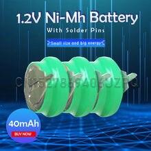 Lot de 1 à 8 pièces de 1.2V 40mAh rechargeables Ni-MH Ni MH avec broche pour montre jouet, réveil, ordinateur, carte mère, casque bluetooth, bouton Cell