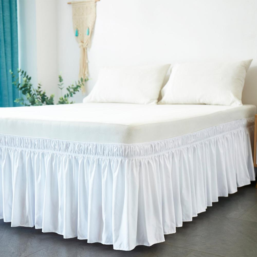 Hotel Bed Skirt Wrap Around Elastic Bed Shirts Without Bed Surface Twin /Full/ Queen/ King Size 38cm Height for Home Decor White