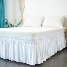 Hotel Bed Skirt Wrap Around Elastic Shirts Without Surface Twin /Full/ Queen/ King Size 38cm Height for Home Decor White