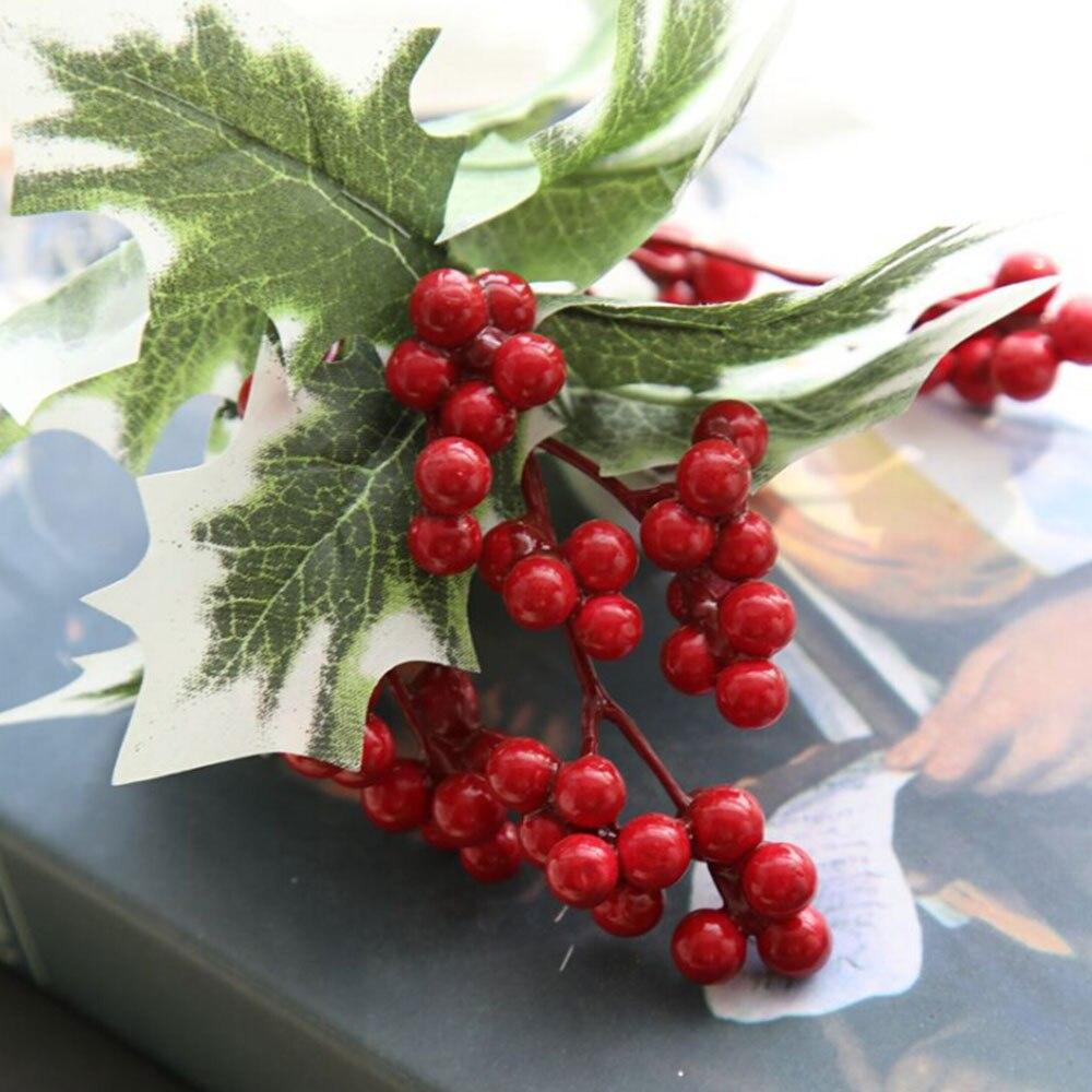 Albero di natale Artificiale Bacca Rossa Frutta Pianta Bacche Fiore Artificiale Rosso Ciliegia Decorativa Di Natale Rami di Fiori - 2