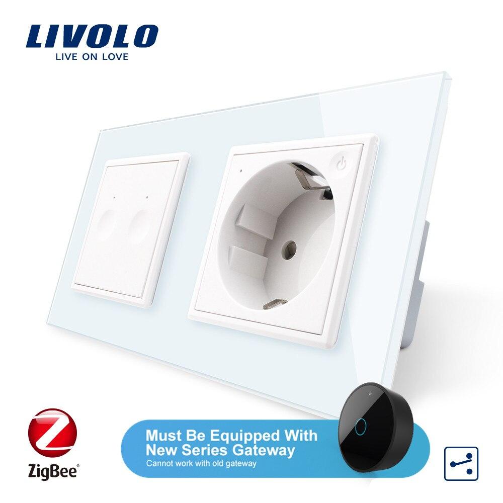 Livolo стандарт ЕС Новый смарт Wifi 16A розетка питания, с новым двумя способами переключатель, Хрустальное стекло wifi приложение, aleax, googel home, без логотипа