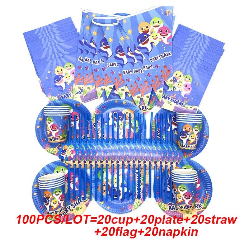 100 Banners de cumpleaños del tema del tiburón azul de Uds. Para suministros para fiestas de cumpleaños y eventos plato y vaso de papel conjunto de vajilla desechable Vestido de princesa de La Sirenita de las muchachas de voguek para niños disfraz de fantasía de Ariel de verano ropa de fiesta de playa de escala para niños