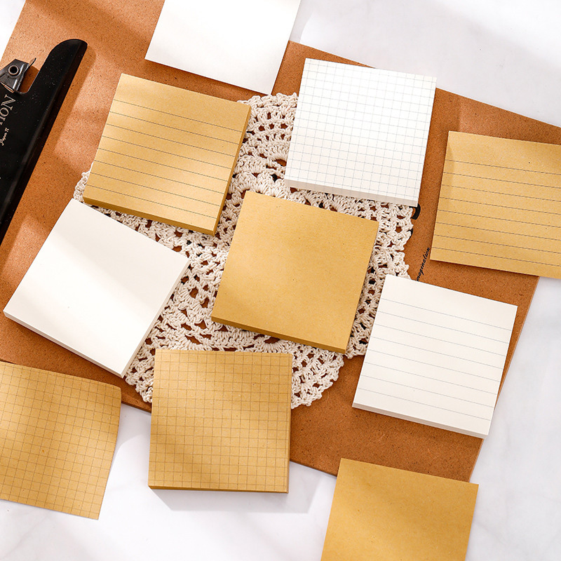 Kraft Grid Lined Blank Sticky Note White Blank Memo Pad Kraft Grid Square Stciky Note For Office Work And School Study