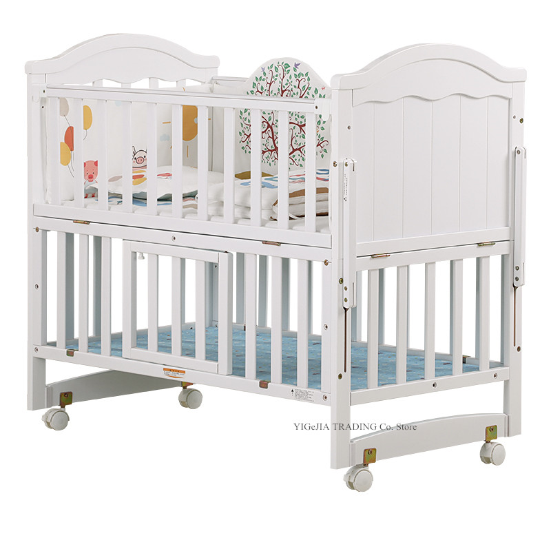Multifunctional Wood Infant Crib, Can Combine With Adult Bed, 106*64*98cm, Can Extend To 150cm Length, White Baby Crib