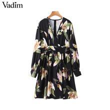 Vadim נשים רטרו פרחוני הדפסת מיני שמלת V צוואר ארוך שרוול בחזרה רוכסן נשי בציר אופנתי שמלות vestidos mujer QD195