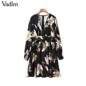 Image 1 - Vadim frauen retro floral print mini kleid v ausschnitt langarm zurück zipper weibliche vintage stilvolle kleider vestidos mujer QD195
