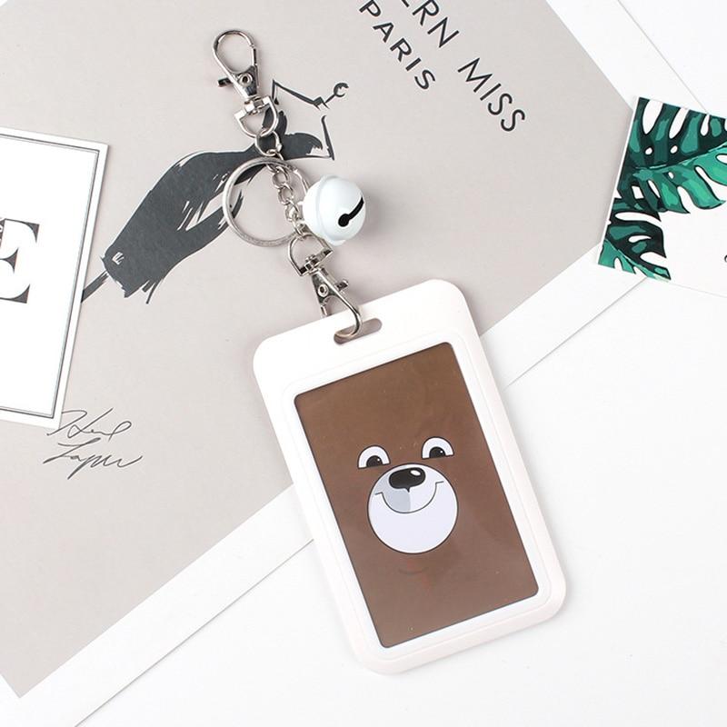 1 PC Bank Credit Card Holder Bus ID Cards Holders Women Men Fashion Card Bags Keychain Cute Cartoon Card Case Key Chain Ring (11)