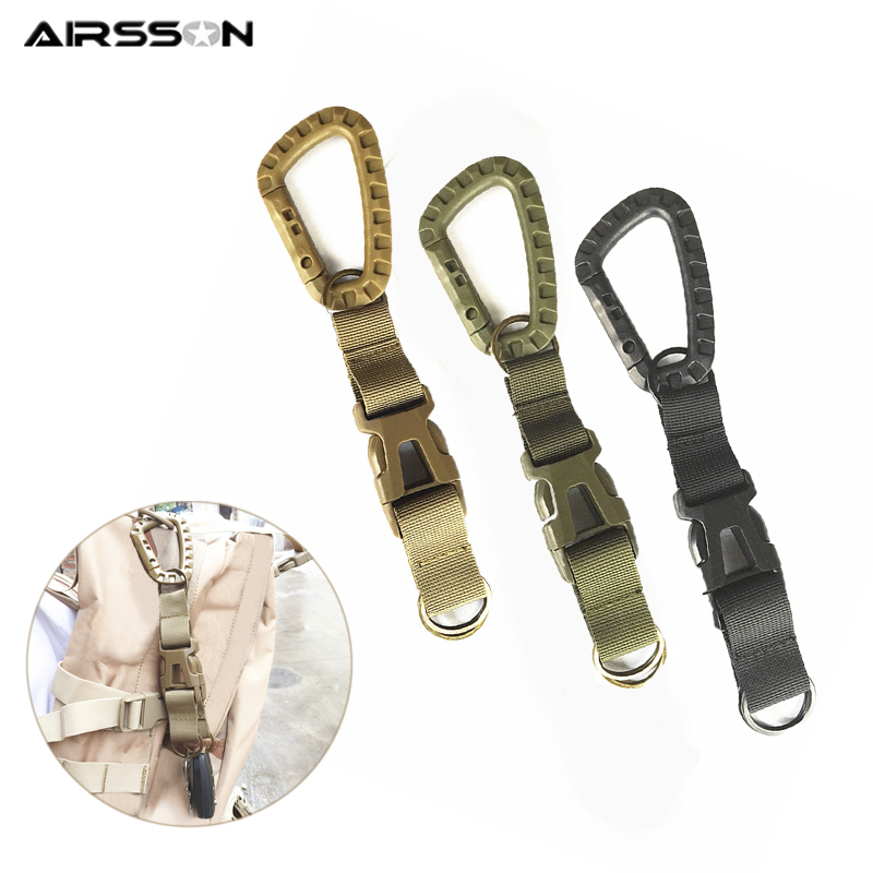 Tactical Keychain Strap Molle Webbing Buckle D-ring Shackle Carabiner Belt Clips Buckle Outdoor Hunting Climbing Accessories