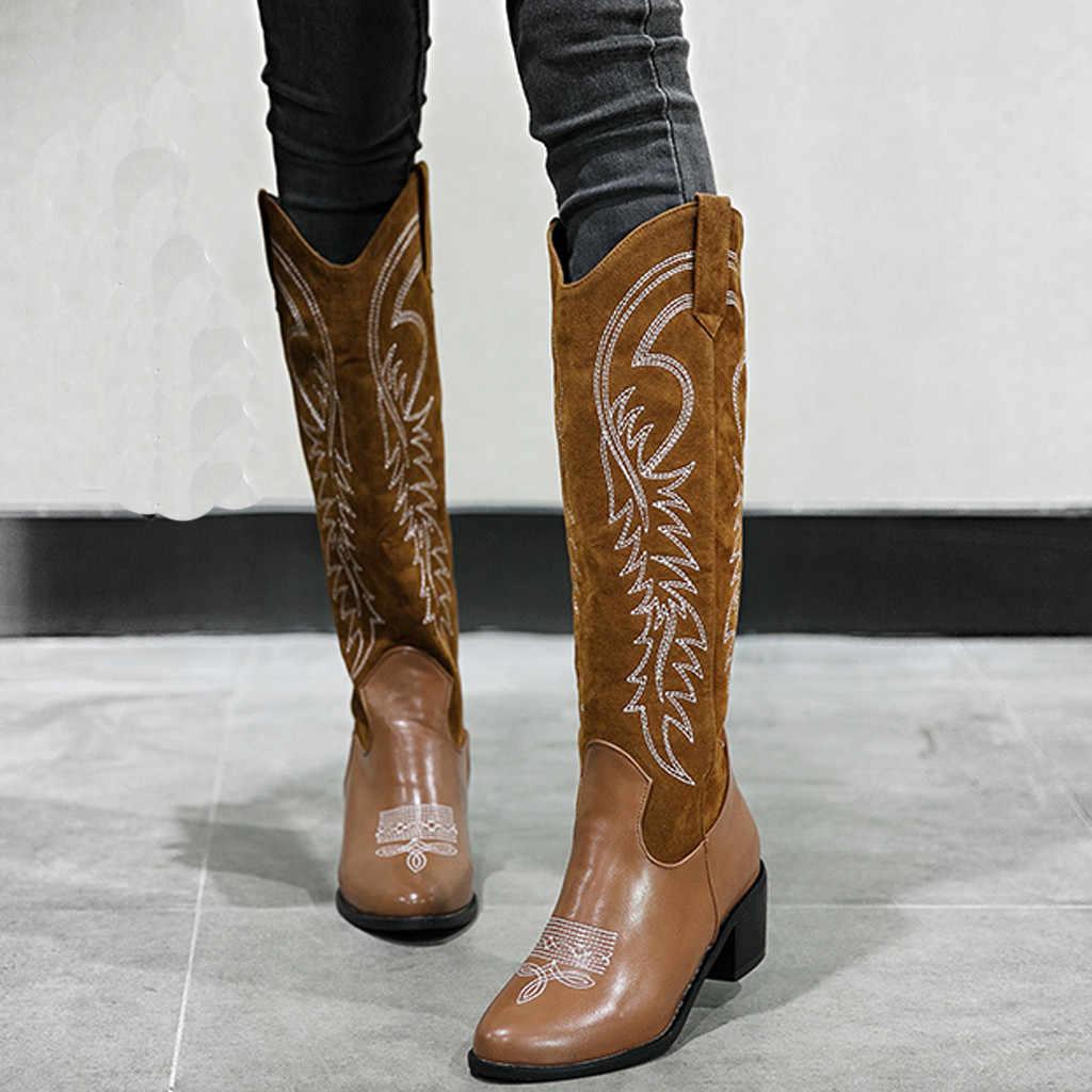 Geborduurde Laarzen Vrouwen Western Rodeo Cowboy Vintage Casual Pu Leer Lage-Heele Vierkante Kop Lange Laarzen Dames Schoenen Botas mujer