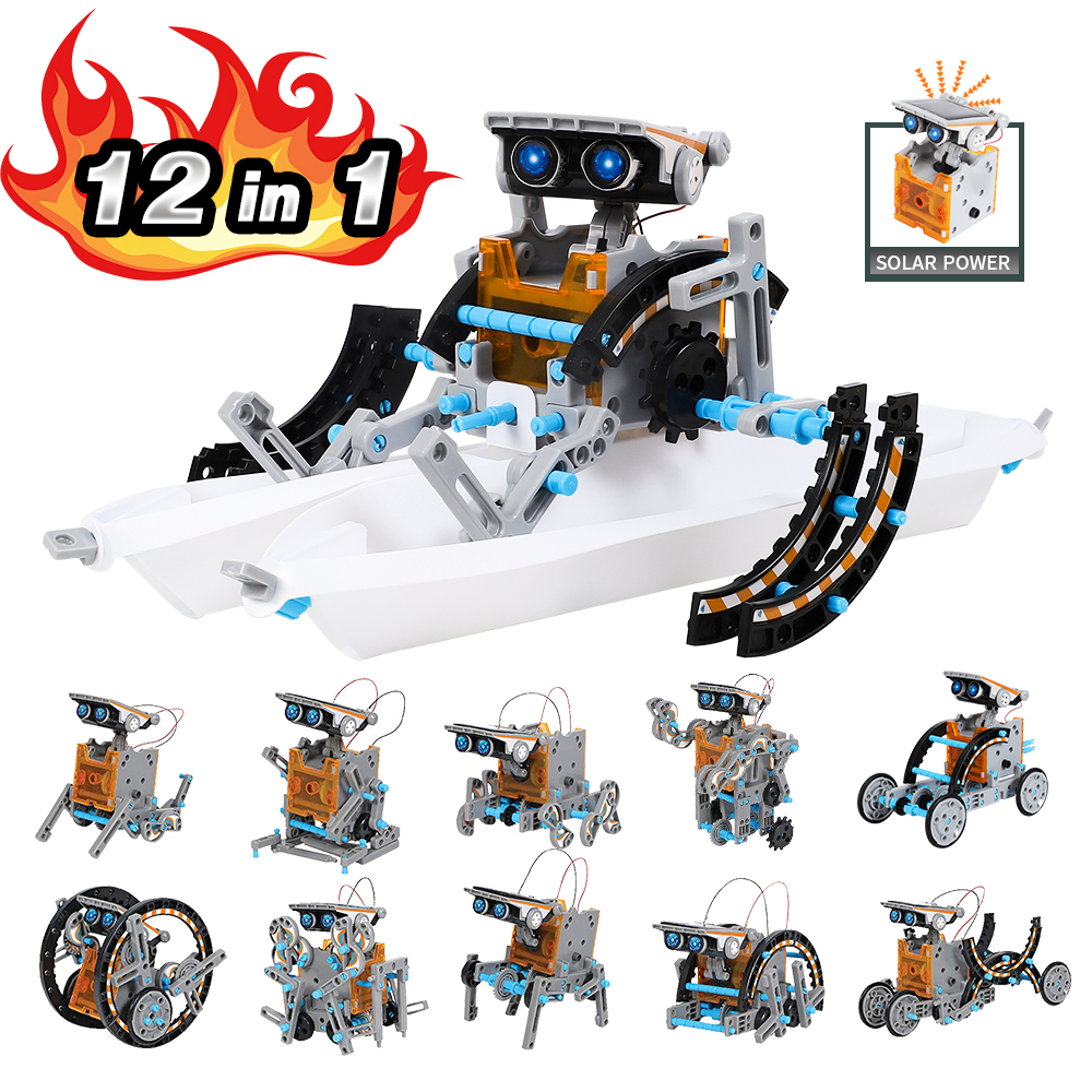 12 In 1 Solar Robot Kit Educational STEM Toys For Children DIY Building Science Experiment Set For Kids New Year Gift No Battery