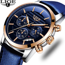 цена на LIGE Top Brand Hot Men's Analog Quartz Sport Watches Men Luxury Business Watch Fashion Leather Waterproof Wrist Watch Male Clock