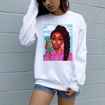 Sudadera mujer make money not friends melanin poppin hoodies women black girls funny hoodie 90s oversized vogue sweatshirts make money not friends pубашка