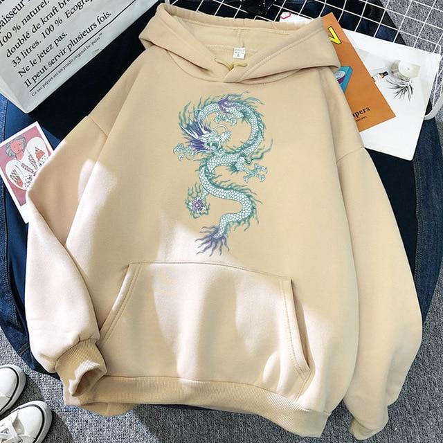 Cool Dragon Plus Size Print Sweatshirts Women Oversized Tops Hoodies Female Pullovers Casual Hoody Harajuku Korean Style Clothes 5