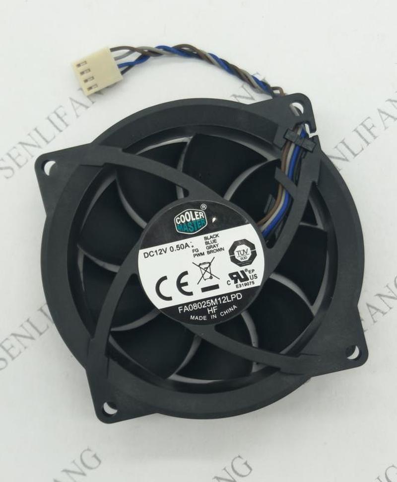 For CoolerMaster FA08025M12LPD 12V 0.50A 804057-001 80*80*25mm Cooling Fan 4pin Cooling Fan Processor Cooler Heatsink Fan