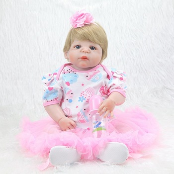JULY'S SONG 55CM Reborn Baby Dolls Toys For Girls Baby Reborn Dolls Full Body Silicone Bath Toy Birthday Present