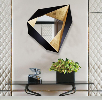 Simple Modern Wrought Iron 3D Stereo Home  Decorative Mirror Mural  1