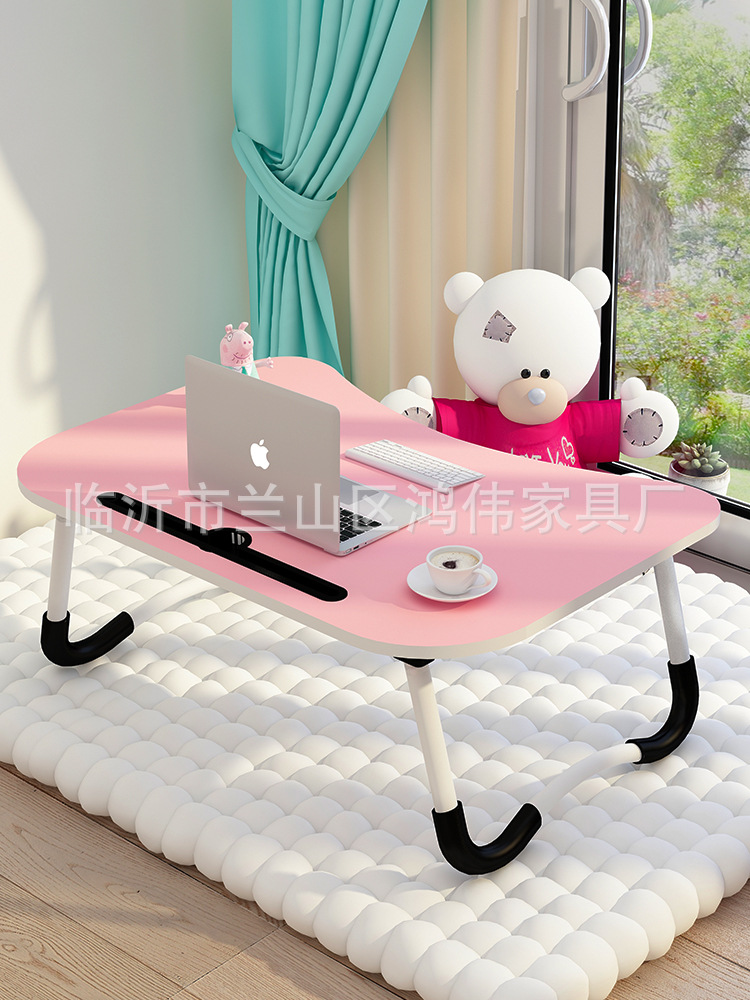 W Baking Varnish Leg Laptop Table Bed Item Foldable Lazy Bed Desk Card Slot Small Table