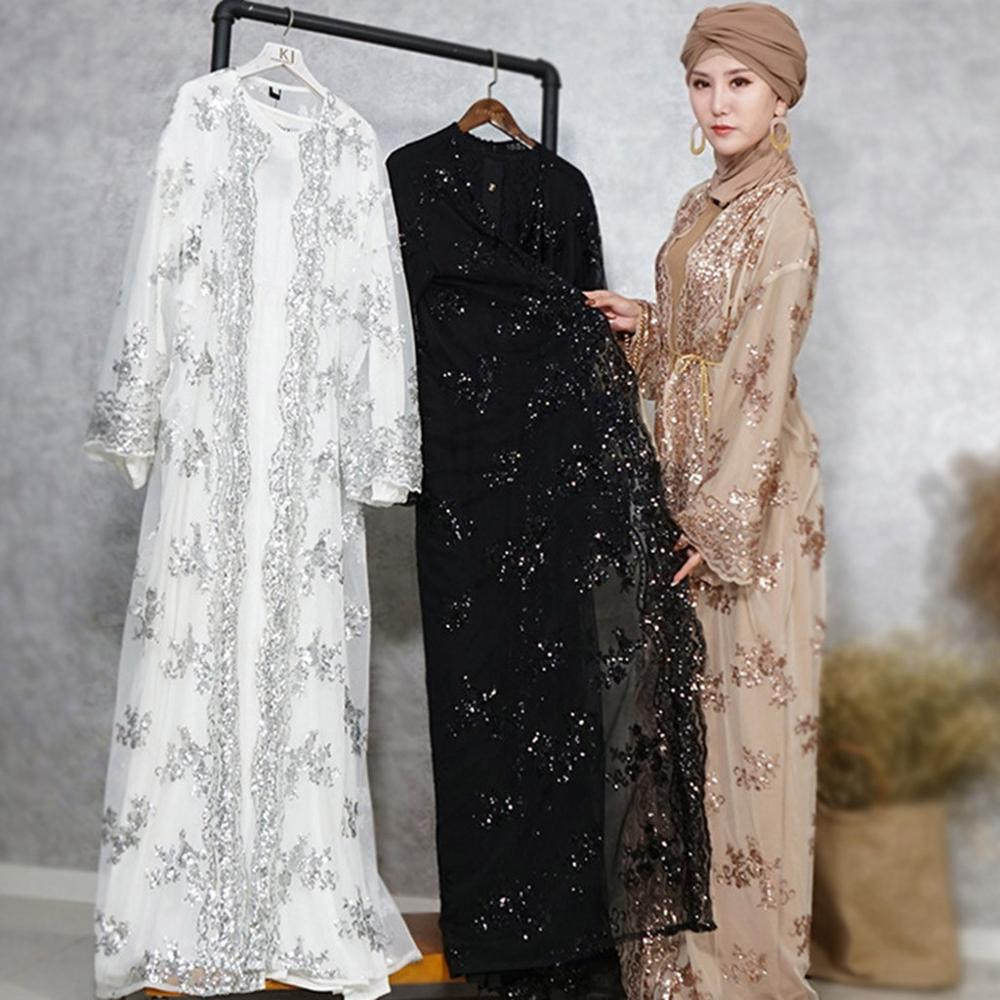 Luxury High Class Sequins Muslim Dress Embroidery Women Lace Sequin Cardigan Maxi Dress Kimono Open Abaya Robe Kaftan Dubai 3.29